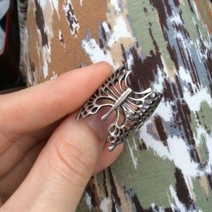 925 Real Silver Bold Butterfly Ring